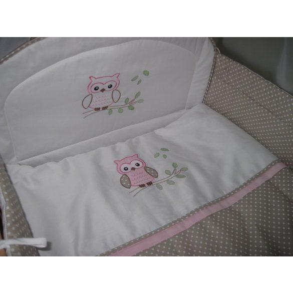 Babaágynemű garnitúra 2 részes - Provance rózsaszín bagoly