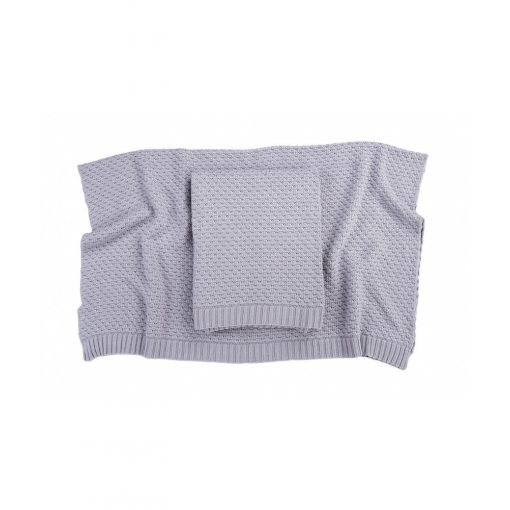 Deluxe kötött bambusz-pamut takaró - Light grey