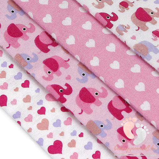 Mintás textil pelenka válogatás 4 db-os - Rózsaszín elefántos szíves