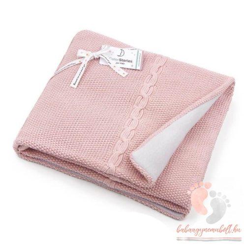 Color polár-pamut kötött takaró - Vintage rózsaszín