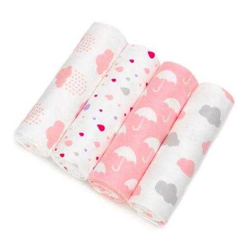 Mintás textil pelenka válogatás 4 db-os - Rózsaszín felhős