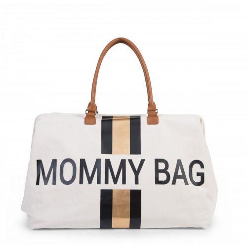 Mommy Bag - Big canvas off white stripes black/gold