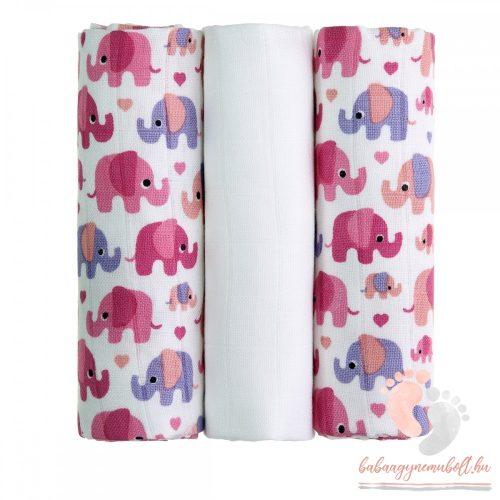 Mintás bambusz pelenka válogatás 3 db-os - Rózsaszín elefántos