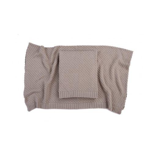 Deluxe kötött bambusz-pamut takaró - Beige