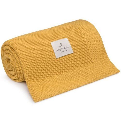 My Memi bambusz-pamut kötött takaró - Méz sárga