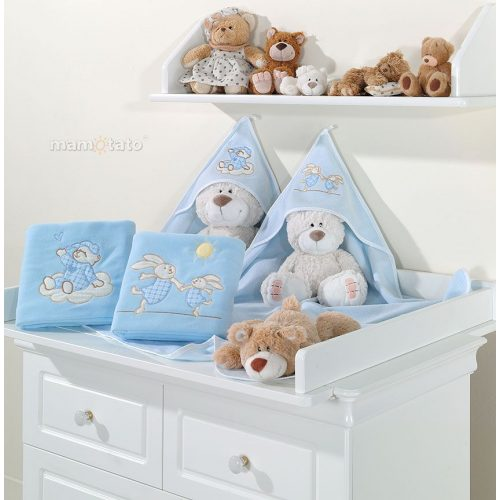 kapucnis fürdőlepedő - Alvó maci kék