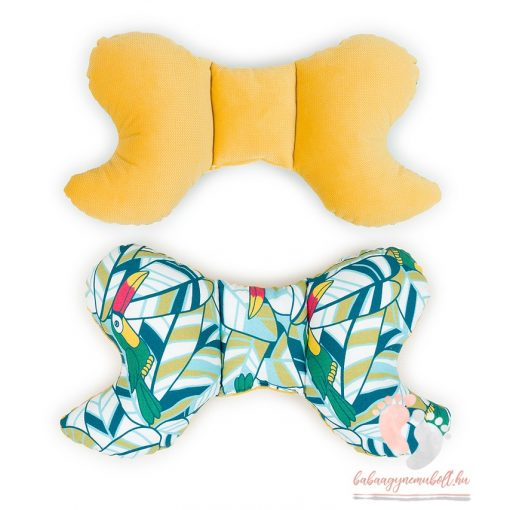 Prémium velvet pillangó párna - Tukánok sárgával
