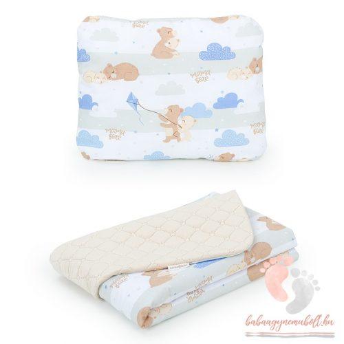 Prémium velvet ágynemű szett - Kék felhős macik bézzsel