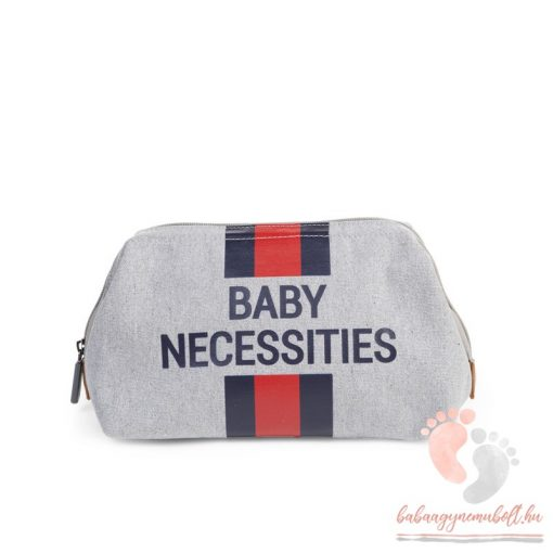 Baby Necessities - canvas grey stripes red/blue