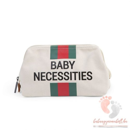 Baby Necessities - canvas off white stripes green/red