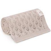 Memi flower bambusz-pamut kötött takaró - Homok