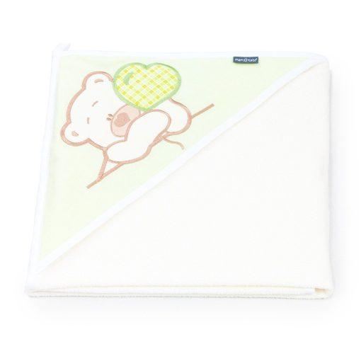 Prémium kapucnis fürdőlepedő - Szíves maci zöld