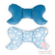 Prémium velvet pillangó párna - Kék vadon sötétkékkel