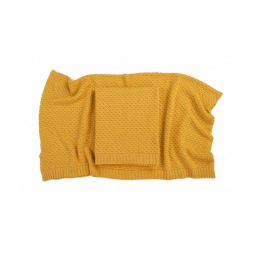 Deluxe kötött bambusz-pamut takaró - Yellow