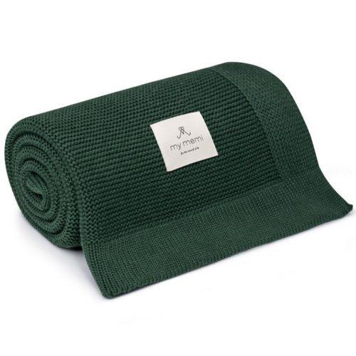 My Memi bambusz-pamut kötött takaró - Fenyőzöld