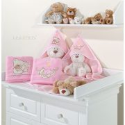 Prémium kapucnis fürdőlepedő - Alvó maci rózsaszín