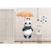 Falmatrica - Panda esernyővel és szívekkel