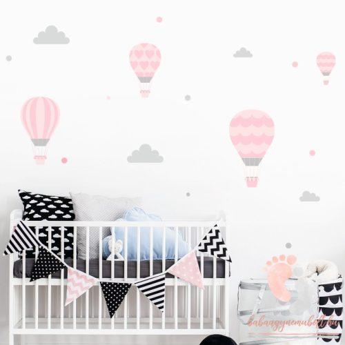 Design falmatrica - Rózsaszín léggömbök szürke felhőkkel