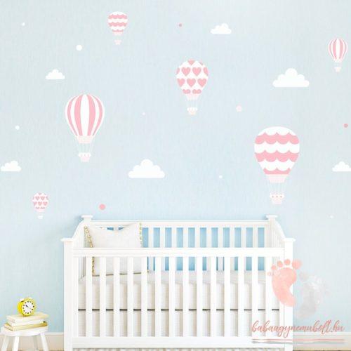 Design falmatrica - Rózsaszín léggömbök fehér felhőkkel