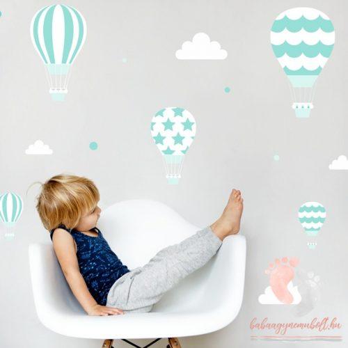 Design falmatrica - Menta léggömbök fehér felhőkkel