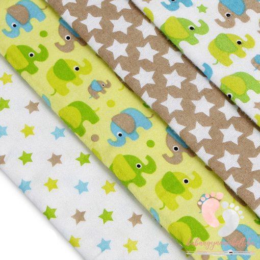 Mintás textil pelenka válogatás 4 db-os - Csillagos elefántos