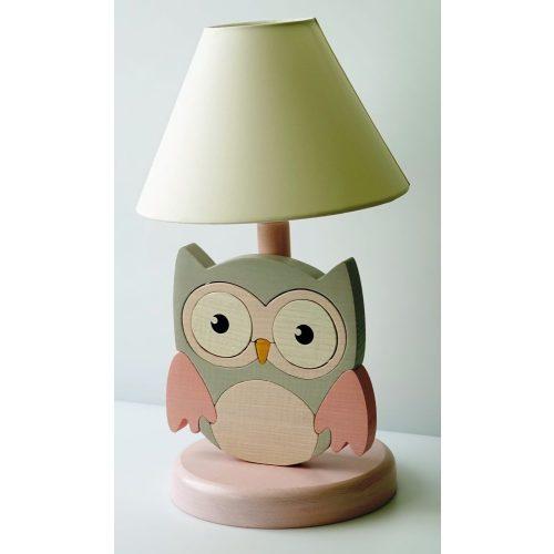 Bagoly rózsaszín-szürke éjjeli lámpa