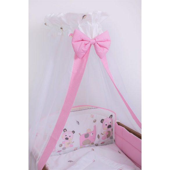 Babaágynemű garnitúra 4 részes - Szórakozott rózsaszín elefántok